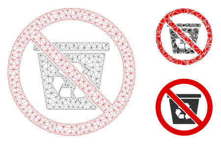 Mesh no recycle can model with triangle mosaic icon. Wire frame triangular mesh of no recycle can. Vector mosaic of triangle parts in variable sizes, and color hues. Abstract 2d mesh no recycle can,