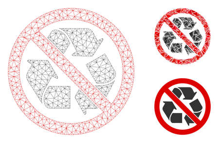 Mesh no recycling model with triangle mosaic icon. Wire frame triangular network of no recycling. Vector mosaic of triangle parts in various sizes, and color hues. Abstract 2d mesh no recycling,