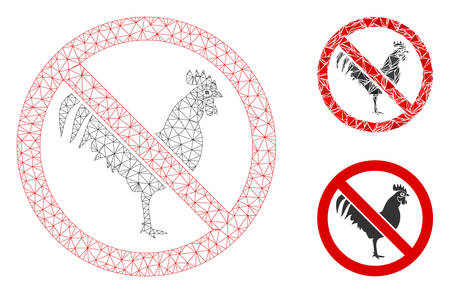 Mesh no rooster model with triangle mosaic icon. Wire carcass triangular mesh of no rooster. Vector mosaic of triangle parts in different sizes, and color tones. Abstract 2d mesh no rooster,