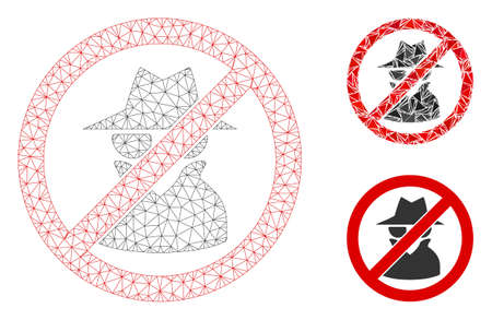 Mesh no spy model with triangle mosaic icon. Wire frame polygonal mesh of no spy. Vector collage of triangle elements in variable sizes, and color tints. Abstract flat mesh no spy,