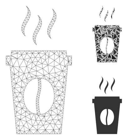 Mesh paper coffee cup model with triangle mosaic icon. Wire carcass polygonal mesh of paper coffee cup. Vector mosaic of triangle elements in various sizes, and color shades. Illusztráció