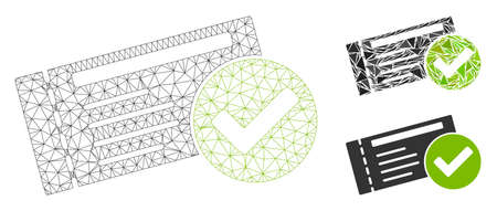 Mesh passed model with triangle mosaic icon. Wire carcass polygonal mesh of passed. Vector mosaic of triangle parts in various sizes, and color tints. Abstract flat mesh passed,