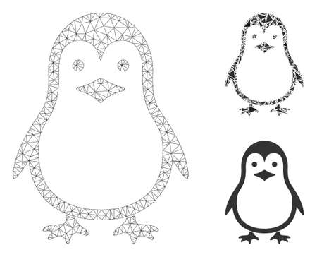 Mesh penguin model with triangle mosaic icon. Wire carcass triangular network of penguin. Vector collage of triangle elements in various sizes, and color tints. Abstract flat mesh penguin, Archivio Fotografico - 133690325