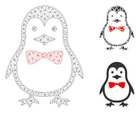 Mesh penguin bow model with triangle mosaic icon. Wire frame polygonal mesh of penguin bow. Vector mosaic of triangle parts in variable sizes, and color tinges. Abstract flat mesh penguin bow, Archivio Fotografico - 133690351