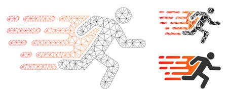 Mesh rush running man model with triangle mosaic icon. Wire carcass polygonal mesh of rush running man. Vector mosaic of triangle parts in variable sizes, and color tinges.
