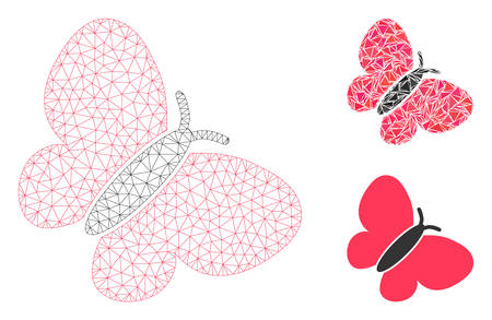 Mesh butterfly model with triangle mosaic icon. Wire carcass polygonal mesh of butterfly. Vector collage of triangle elements in various sizes, and color tinges. Abstract 2d mesh butterfly,