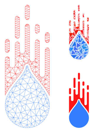 Mesh rush drop model with triangle mosaic icon. Wire frame polygonal mesh of rush drop. Vector composition of triangle elements in different sizes, and color tinges. Abstract flat mesh rush drop, Stock fotó - 133699907