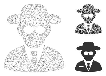 Mesh secure agent model with triangle mosaic icon. Wire frame polygonal mesh of secure agent. Vector mosaic of triangle elements in different sizes, and color tints. Abstract flat mesh secure agent, Çizim