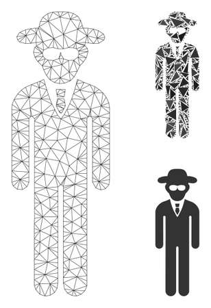 Mesh security agent model with triangle mosaic icon. Wire frame polygonal network of security agent. Vector mosaic of triangle parts in variable sizes, and color tints.
