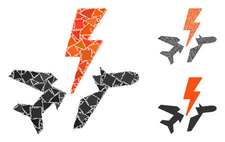 Aircraft disaster mosaic of humpy elements in variable sizes and color tinges, based on aircraft disaster icon. Vector abrupt elements are grouped into mosaic.