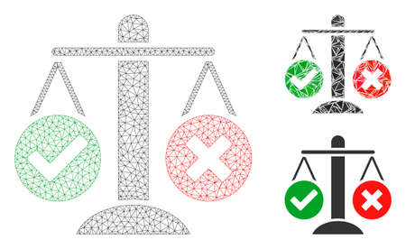 Mesh truth decision model with triangle mosaic icon. Wire frame triangular mesh of truth decision. Vector mosaic of triangle parts in different sizes, and color tints. Abstract 2d mesh truth decision,