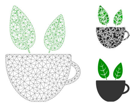 Mesh vegan cafe model with triangle mosaic icon. Wire carcass triangular mesh of vegan cafe. Vector collage of triangle parts in variable sizes, and color tones. Abstract 2d mesh vegan cafe,