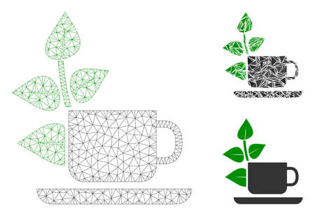 Mesh vegan drink model with triangle mosaic icon. Wire frame polygonal mesh of vegan drink. Vector collage of triangle parts in variable sizes, and color tones. Abstract 2d mesh vegan drink,