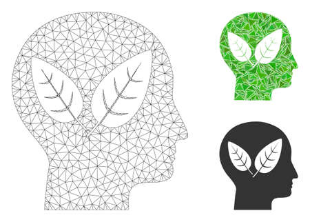 Mesh vegan head model with triangle mosaic icon. Wire carcass polygonal mesh of vegan head. Vector mosaic of triangle elements in different sizes, and color shades. Abstract 2d mesh vegan head,