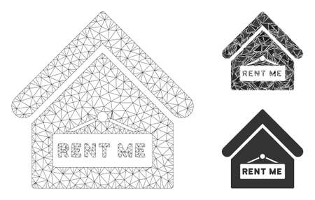 Mesh rent me model with triangle mosaic icon. Wire carcass triangular mesh of rent me. Vector mosaic of triangle elements in various sizes, and color hues. Abstract flat mesh rent me,