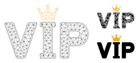 Mesh VIP model with triangle mosaic icon. Wire frame triangular mesh of VIP. Vector collage of triangle elements in variable sizes, and color shades. Abstract 2d mesh VIP,