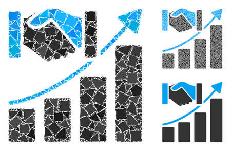 Acquisition growth mosaic of bumpy pieces in various sizes and shades, based on acquisition growth icon. Vector ragged pieces are organized into collage. Illusztráció