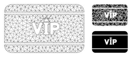 Mesh VIP access card model with triangle mosaic icon. Wire carcass triangular mesh of VIP access card. Vector mosaic of triangle elements in different sizes, and color shades.