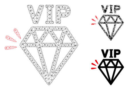 Mesh VIP brand model with triangle mosaic icon. Wire frame polygonal mesh of VIP brand. Vector mosaic of triangle parts in various sizes, and color tinges. Abstract 2d mesh VIP brand,