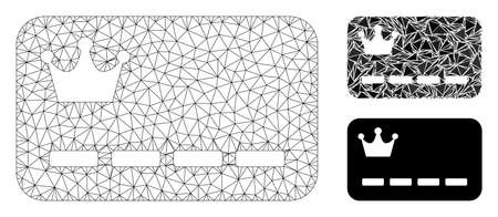 Mesh VIP card model with triangle mosaic icon. Wire frame triangular mesh of VIP card. Vector mosaic of triangle elements in different sizes, and color shades. Abstract flat mesh VIP card,