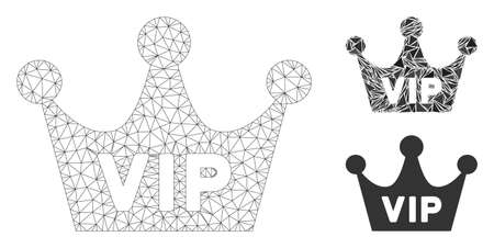 Mesh VIP crown model with triangle mosaic icon. Wire frame triangular mesh of VIP crown. Vector composition of triangle parts in various sizes, and color hues. Abstract 2d mesh VIP crown,