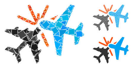 Airplane collision mosaic of humpy pieces in various sizes and shades, based on airplane collision icon. Vector inequal pieces are grouped into collage.