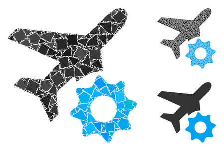 Airplane options gear composition of joggly elements in different sizes and color hues, based on airplane options gear icon. Vector bumpy elements are composed into collage. 向量圖像