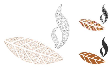 Mesh smoking tobacco leaf model with triangle mosaic icon. Wire carcass polygonal mesh of smoking tobacco leaf. Vector mosaic of triangle parts in various sizes, and color tints.