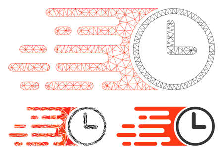Mesh speed time model with triangle mosaic icon. Wire frame triangular network of speed time. Vector mosaic of triangle parts in various sizes, and color shades. Abstract 2d mesh speed time,