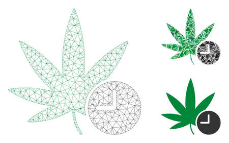 Mesh weed time model with triangle mosaic icon. Wire frame triangular mesh of weed time. Vector collage of triangle elements in different sizes, and color shades. Abstract 2d mesh weed time,