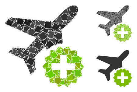 Airplane addition mosaic of irregular parts in variable sizes and shades, based on airplane addition icon. Vector inequal pieces are organized into collage.