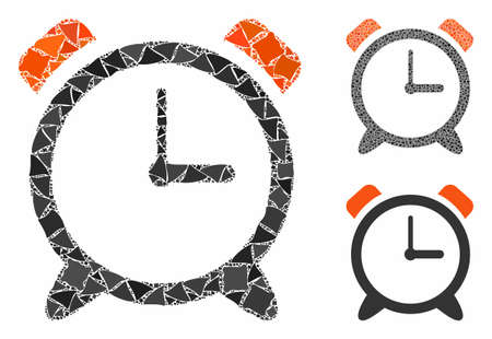 Alarm clock mosaic of abrupt items in different sizes and shades, based on alarm clock icon. Vector tuberous dots are combined into mosaic. Alarm clock icons collage with dotted pattern.