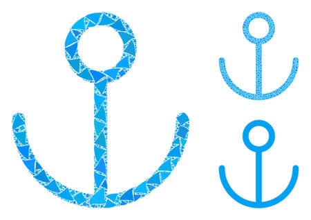 Anchor mosaic of bumpy elements in variable sizes and color tinges, based on anchor icon. Vector joggly pieces are organized into collage. Anchor icons collage with dotted pattern.