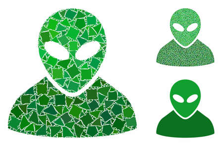 Alien mosaic of raggy pieces in variable sizes and color tinges, based on alien icon. Vector abrupt pieces are organized into collage. Alien icons collage with dotted pattern.