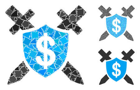 Bank guard mosaic of humpy parts in different sizes and color tinges, based on bank guard icon. Vector rugged parts are composed into mosaic. Bank guard icons collage with dotted pattern. Иллюстрация