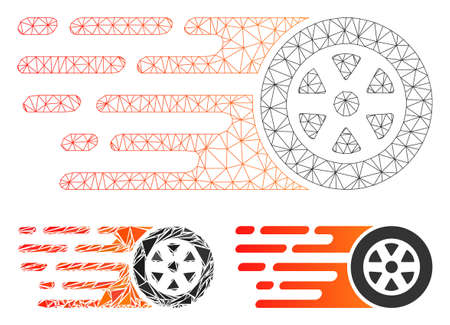 Mesh rush car wheel model with triangle mosaic icon. Wire carcass polygonal mesh of rush car wheel. Vector mosaic of triangle elements in different sizes, and color tones.
