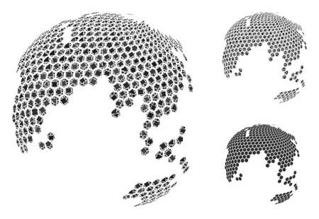Abstract dotted earth globe composition of irregular items in various sizes and color tones, based on abstract dotted earth globe icon. Vector irregular elements are composed into collage.