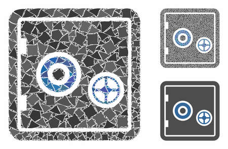 Banking safety box mosaic of bumpy items in various sizes and shades, based on banking safety box icon. Vector bumpy items are grouped into illustration. Banking safety box icons collage with dotted pattern.