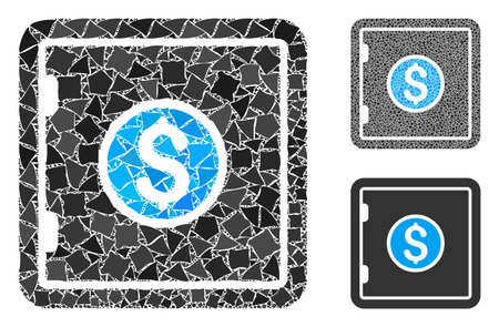 Banking safety box mosaic of rugged items in various sizes and color tints, based on banking safety box icon. Vector rough items are composed into collage. Banking safety box icons collage with dotted pattern.