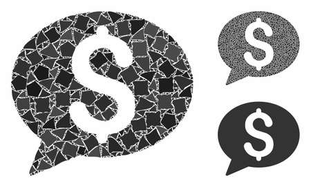 Bank message mosaic of unequal items in variable sizes and color tints, based on bank message icon. Vector rough items are organized into collage. Bank message icons collage with dotted pattern.