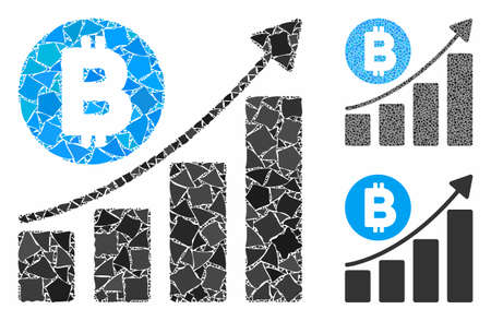 Bitcoin bar chart trend mosaic of humpy elements in different sizes and shades, based on Bitcoin bar chart trend icon. Vector humpy dots are combined into mosaic.