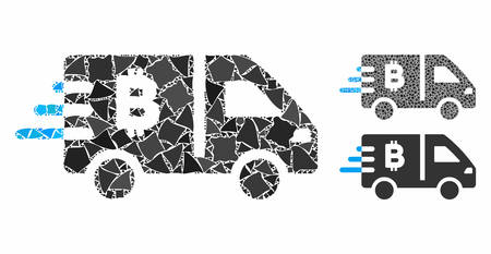 Bitcoin express car composition of trembly items in different sizes and color tints, based on Bitcoin express car icon. Vector humpy items are grouped into composition.