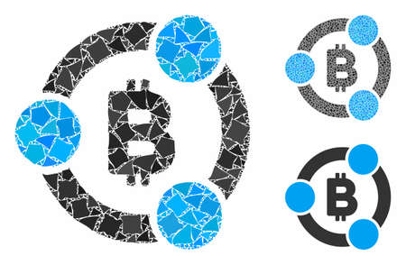 Bitcoin collaboration composition of rugged items in variable sizes and color tinges, based on Bitcoin collaboration icon. Vector humpy elements are grouped into composition.