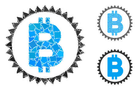 Bitcoin medal coin composition of unequal elements in different sizes and color tones, based on Bitcoin medal coin icon. Vector tuberous elements are grouped into composition.