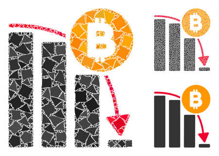Bitcoin panic fall chart composition of tuberous pieces in variable sizes and color tinges, based on Bitcoin panic fall chart icon. Vector rugged pieces are united into collage. Иллюстрация