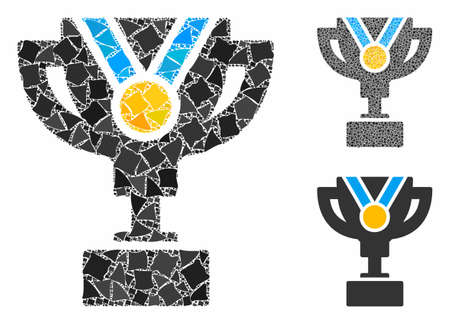 Award cup composition of uneven elements in variable sizes and shades, based on award cup icon. Vector uneven dots are composed into composition. Award cup icons collage with dotted pattern.