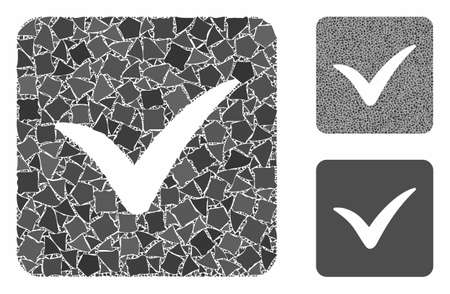 Approve box mosaic of tremulant parts in different sizes and shades, based on approve box icon. Vector bumpy parts are organized into composition. Approve box icons collage with dotted pattern. 일러스트