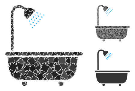Bath shower composition of ragged items in various sizes and color tones, based on bath shower icon. Vector irregular items are grouped into collage. Bath shower icons collage with dotted pattern. 일러스트
