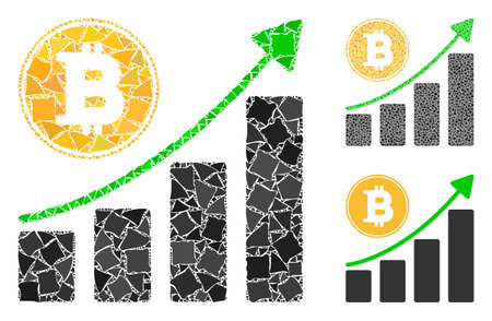Bitcoin growing chart mosaic of tuberous items in different sizes and color tones, based on Bitcoin growing chart icon. Vector irregular elements are united into collage.