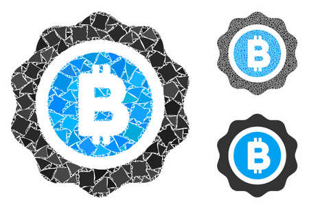 Bitcoin seal composition of unequal pieces in various sizes and color tints, based on Bitcoin seal icon. Vector irregular pieces are composed into collage.